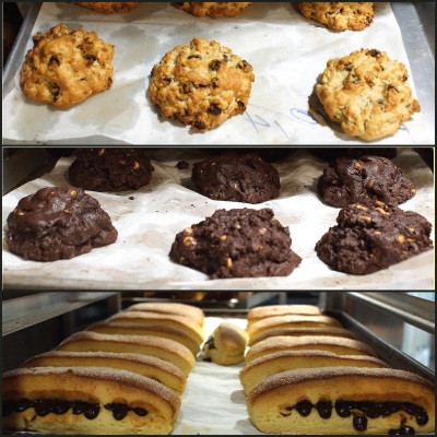 Oatmeal raisin cookies, dark chocolate chocolate chip, chocolate chip brioche